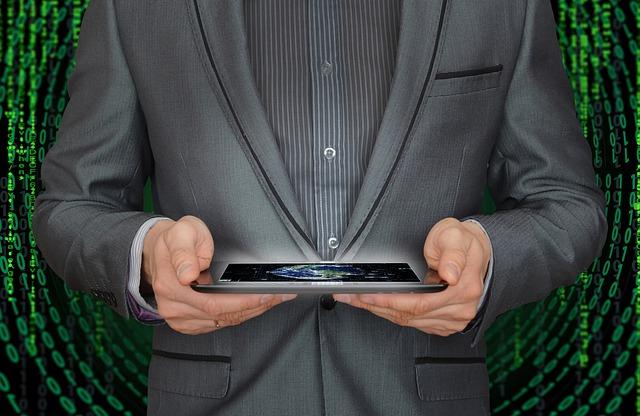 businessman a tablet
